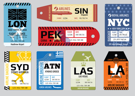 Illustration pour Vintage luggage tags, travel labels vector set. Badge for baggage, cardboard coupon illustration - image libre de droit