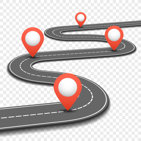 Ilustración de Car road, street, highway business roadmap infographics design. Way and direction plan with red pins sign. Vector illustration - Imagen libre de derechos