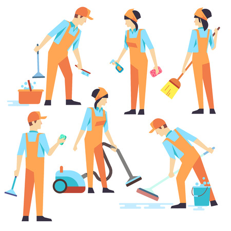 Illustrazione per Cleaning staff in different positions. Vector illustration. Cleaning service, people vacuuming and washing - Immagini Royalty Free
