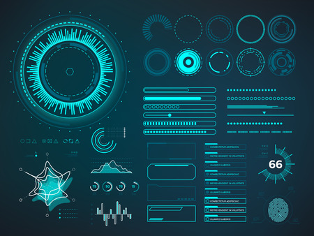 Illustration pour Futuristic user interface HUD. Infographic vector elements. Digital dashboard panel illustration - image libre de droit