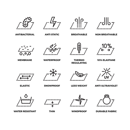 Illustration pour Fabric textile properties thin line vector icons. Material ventilation and waterproofing, breathable and snowproof illustration - image libre de droit