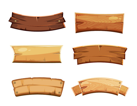 Illustration pour Cartoon wood blank banners and ribbons, western signs vector set. Wooden banner and vintage frame plank illustration - image libre de droit