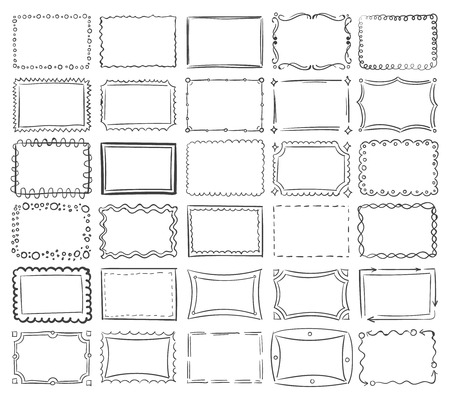 Ilustración de Simple doodle, sketch square vector frames. Abstract frame sketch of set illustration - Imagen libre de derechos