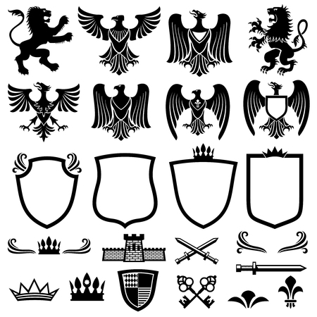 Illustration for Family coat of arms vector elements for heraldic royal emblems. Crown and shield for royal badge, illustration of royal coat of arm - Royalty Free Image