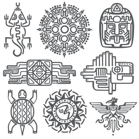 Illustration for Ancient mexican vector mythology symbols. american aztec, mayan culture native totem patterns. Aztec and mexican tattoo, illustration of mayan symbol tattoo - Royalty Free Image