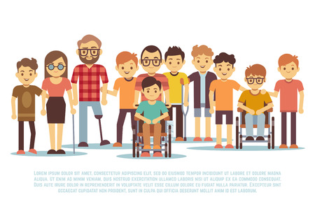 Illustrazione per Disabled child, handicapped children, diverse students in wheelchair vector set. Group of disabled people, illustration of tolerance for people with disabilities - Immagini Royalty Free