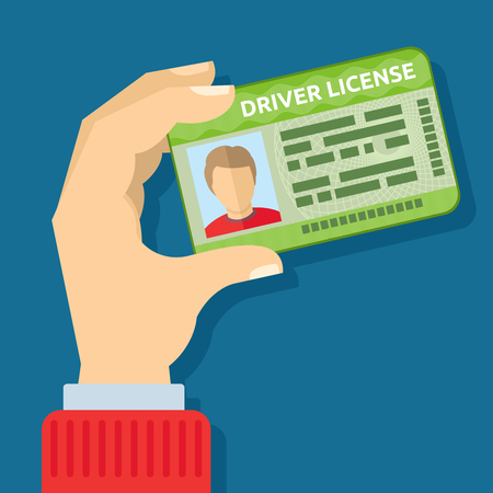 Illustration pour Hand holding id card, car driving licence vector illustration. Driver with license to driving car - image libre de droit