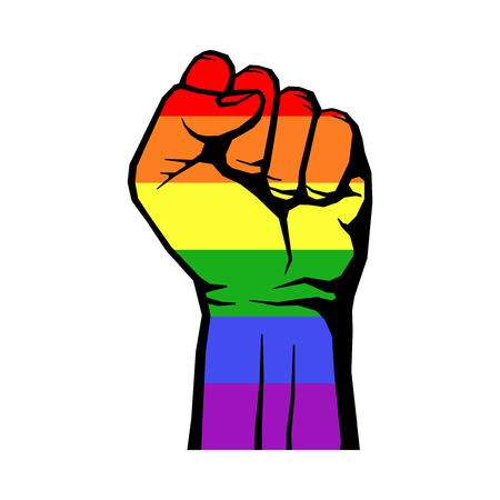Foto de Fight for gay LGBT rights rainbow fist white background. struggle for rights. Vector illustration - Imagen libre de derechos