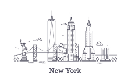 Illustration pour New York city outline skyline, nyc line silhouette, usa tourist and travel vector concept. New York architecture urban illustration - image libre de droit