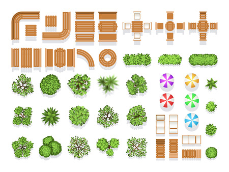 Illustration pour Top view landscaping architecture city park plan vector symbols, wooden benches and trees. Wooden modern sitting and table for design, illustration of creative natural structure city umbrella and tree - image libre de droit