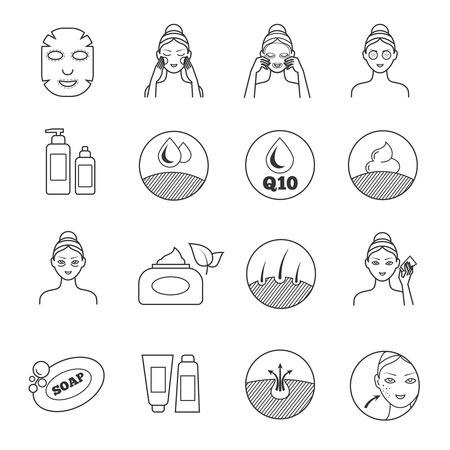 Illustration pour Skin care vector icons. Prevention of aging and eliminating of wrinkle pictograms. Cosmetic skin care, illustration of prevention of skin aging - image libre de droit