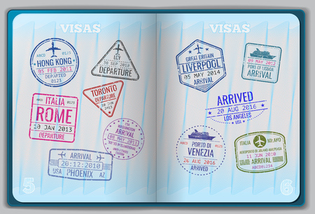Illustration pour Open passport for foreign traveling. Pages with immigration vector icon set stamps. Personal passport with stamps arrived illustration - image libre de droit