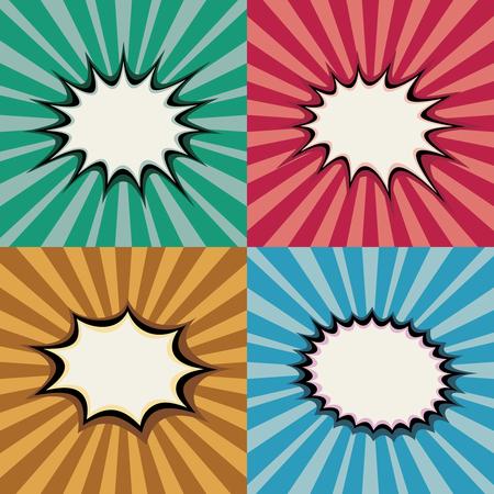 Photo for Blank pop art speech bubbles and burst shapes on retro superhero sunset background vector set. Backdrop bang burst, illustration of page with radial burst - Royalty Free Image