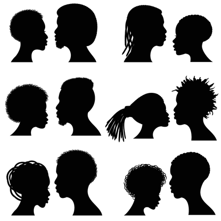 Illustration for African female and male face vector silhouettes. Afro american couple portraits for wedding and romantic design. Couple african profile man and woman, illustration of black silhouette couple - Royalty Free Image