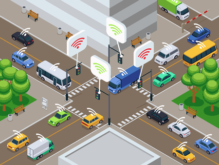 Illustration pour Vehicles with infrared sensor device. Unmanned smart cars in city traffic vector illustration. Sensor car autonomous drive on road city - image libre de droit