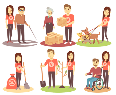 Ilustración de Volunteering and supporting people vector flat icons with young volunteer persons. Character woman volunteer help and giving illustration - Imagen libre de derechos