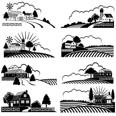Ilustración de Retro rural landscapes with farm building in field. Vector vintage woodcut art. Landscape farm field, rural nature sketch illustration - Imagen libre de derechos