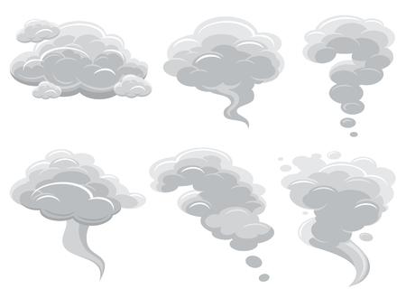Illustration pour Cartoon smoking clouds and comic cumulus cloud vector collection. Air cloud cartoon cumulonimbus illustration - image libre de droit