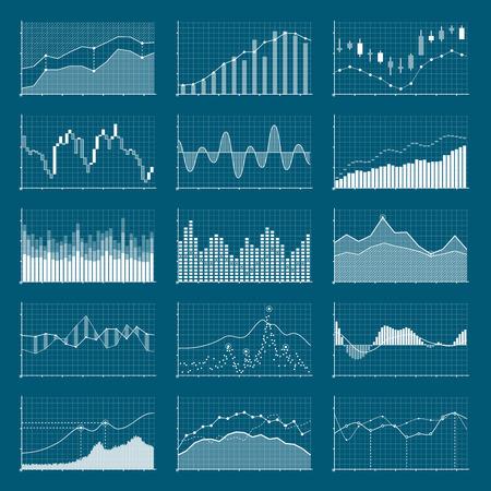 Ilustración de Business data financial charts. Stock analysis graphics. Growing and falling market graphs vector set. Collection of visualization finance chart and diagram information illustration - Imagen libre de derechos