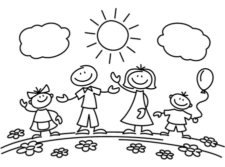 Illustration pour Hand drawn stick figure happy family. Drawing sketch family parents with children. Vector illustration - image libre de droit