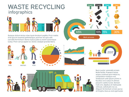 Illustrazione per Waste management and garbage collection for recycling vector infographic. Recycling waste and garbage, recycling waste illustration - Immagini Royalty Free