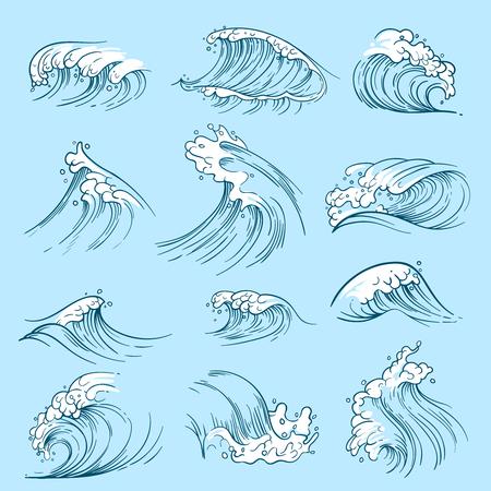 Ilustración de Sketch ocean waves. Hand drawn marine vector tides. Wave water storm sea illustration - Imagen libre de derechos