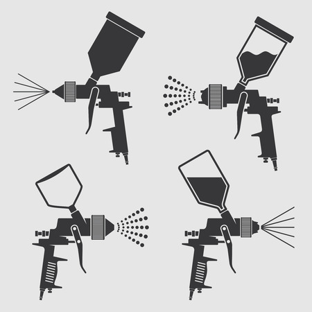 Illustration pour Auto body industrial painting spray gun vector icons. Auto paint spray, airbrush equipment gun illustration - image libre de droit