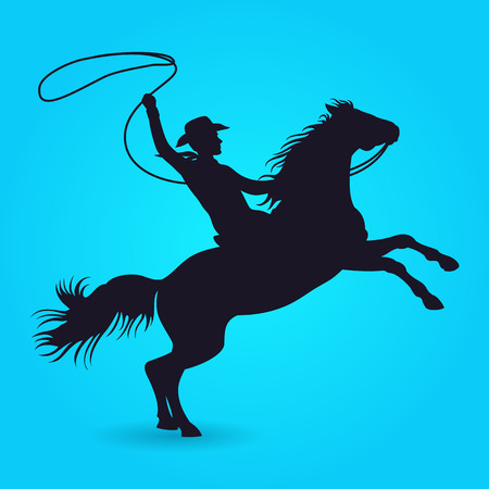 Illustration for Silhouette of cowboy with lasso riding on horse. Silhouette of male rider cowboy with lasso. Vector illustration - Royalty Free Image
