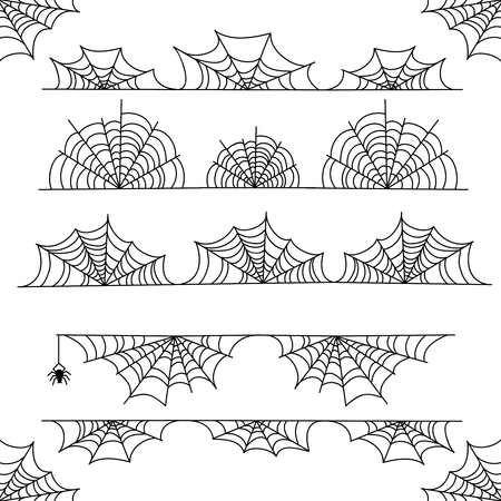 Illustration pour Halloween cobweb vector frame border and dividers isolated on white with spider web for spiderweb scary design - image libre de droit