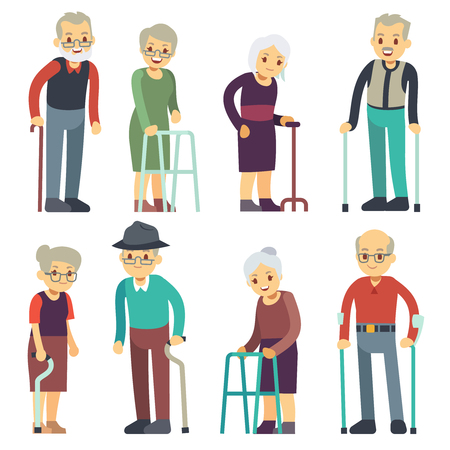 Photo for Old people cartoon vector characters set. Senior man and woman couples collection. Senior people grandmother and grandfather pensioner illustration - Royalty Free Image