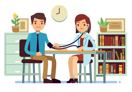 Illustration pour Healthcare and medicine vector concept with doctor checking patients blood pressure. Doctor check pressure patient illustration - image libre de droit