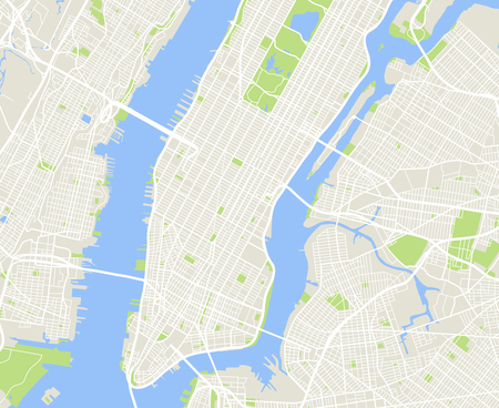 Illustration for New York and Manhattan urban city vector map - Royalty Free Image