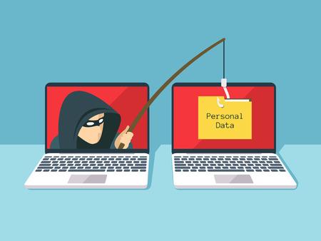 Illustration pour Phishing scam, hacker attack and web security vector concept - image libre de droit
