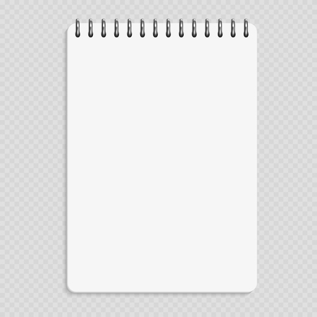 Illustration pour Vertical notebook - clean notepad mockup isolated on transparent background - image libre de droit