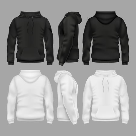 Illustration for Black and white blank sweatshirt hoodie vector templates - Royalty Free Image
