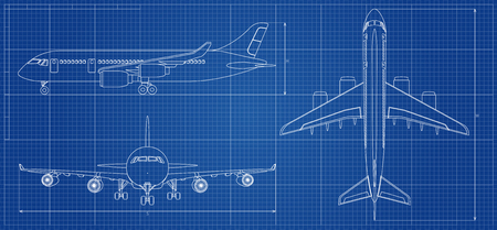 Ilustración de Airplane blueprint. Outline aircraft on blue background. Vector illustration - Imagen libre de derechos