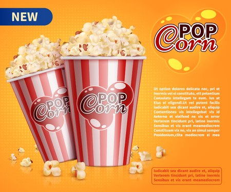 Illustration pour Classic popcorn movie theater snacks vector promotional background - image libre de droit