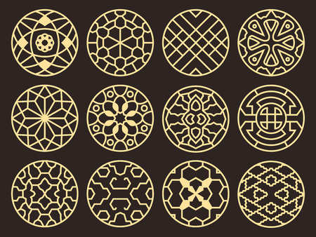 Illustration pour Korean and chinese traditional vector ancient buddhist patterns, ornaments and symbols - image libre de droit