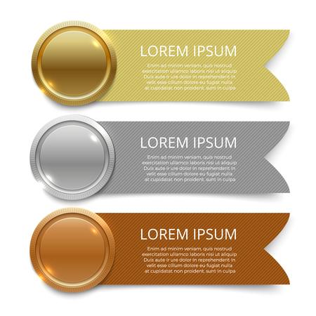 Illustration pour Gold, silver and bronze medals banners design - image libre de droit