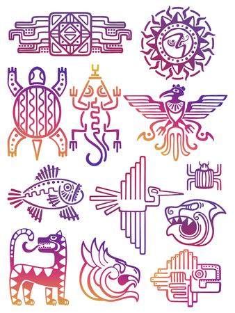 Illustration for Colorful american aztec, mayan symbols - Royalty Free Image