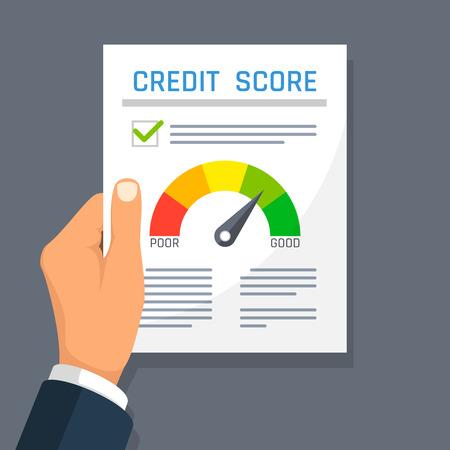 Illustration pour Businessman hand holding credit history finance document with score indicator. Mortgage approval vector concept. - image libre de droit