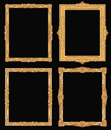 Ilustración de Vintage gold ornate square frames vector illustration set - Imagen libre de derechos
