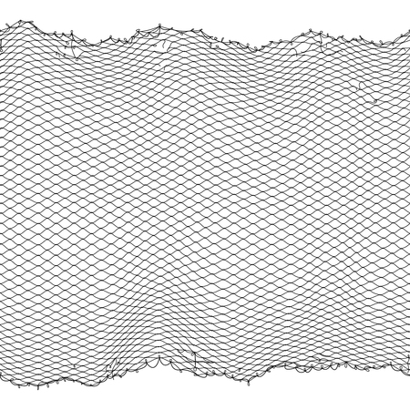 Illustration for Black fisherman rope net vector seamless texture isolated on white - Royalty Free Image