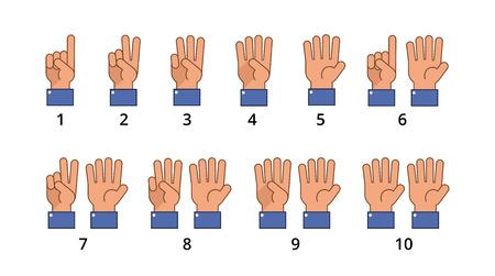 Ilustración de Counting hand. Countdown gestures, language number flat signs isolated. Countdown hand finger, number gesture of set vector illustration - Imagen libre de derechos