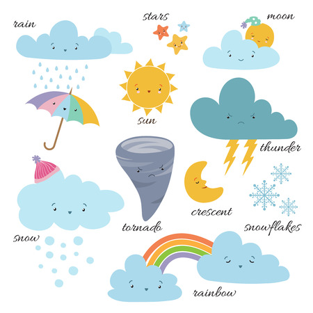 Illustration pour Cute cartoon weather icons. Forecast meteorology vector vocabulary symbols. Sun and cloud, rain and snowflake illustration - image libre de droit