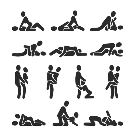 Illustrazione per Sexual position vector icons. Sex positioning between man and woman couple pictograms. Position sexy couple love man and woman, sex partner illustration - Immagini Royalty Free