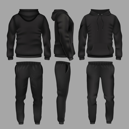 Illustration for Black man sportswear hoodie and trousers vector mockup isolated - Royalty Free Image