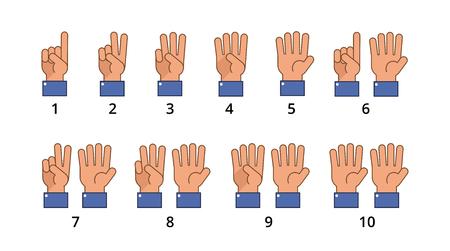 Ilustración de Counting hand, countdown gestures, language number flat signs isolated. - Imagen libre de derechos