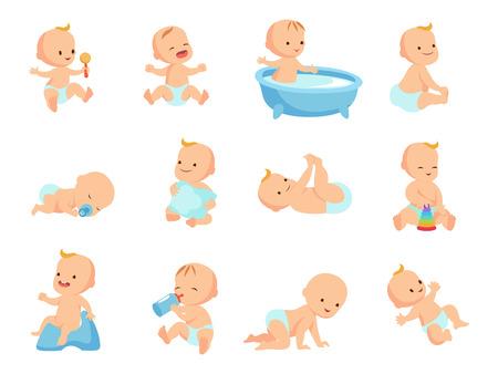 Photo pour Infant newborn baby big set in different activity isolated on white - image libre de droit