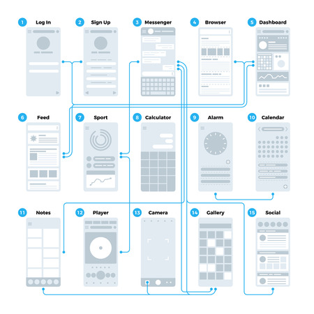 Ilustración de Ux ui application interface flowchart. Mobile wireframes management sitemap vector mockup - Imagen libre de derechos